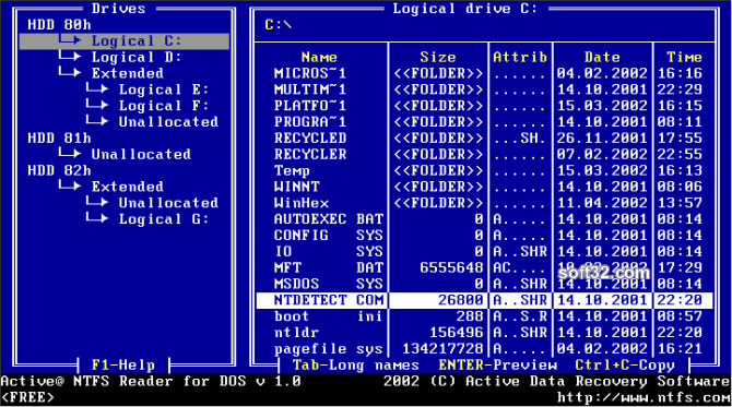 Active NTFS Reader for DOS Screenshot 3