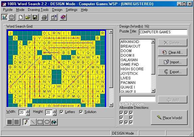 100% Word Search Screenshot