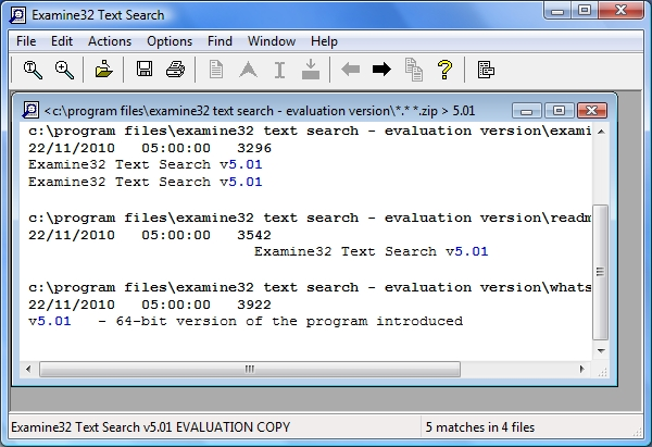 Examine32 Text Search Screenshot
