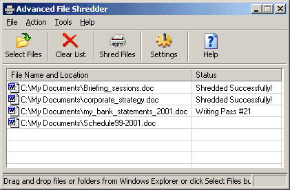 Advanced File Shredder Screenshot