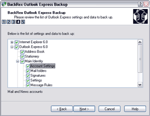 BackRex Outlook Express Backup Screenshot 1