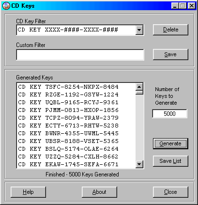CD Keys Screenshot