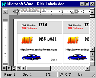 3.5 Inch Disk Label Creator for Word Screenshot