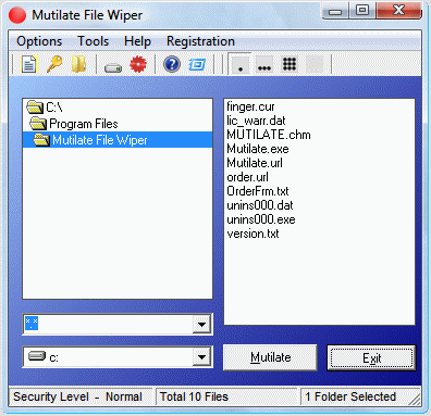 Mutilate File Wiper Screenshot