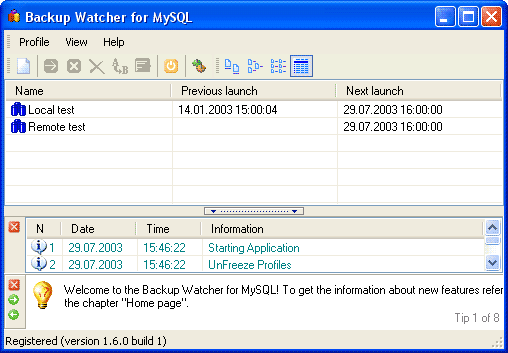 Backup Watcher for MySQL Screenshot
