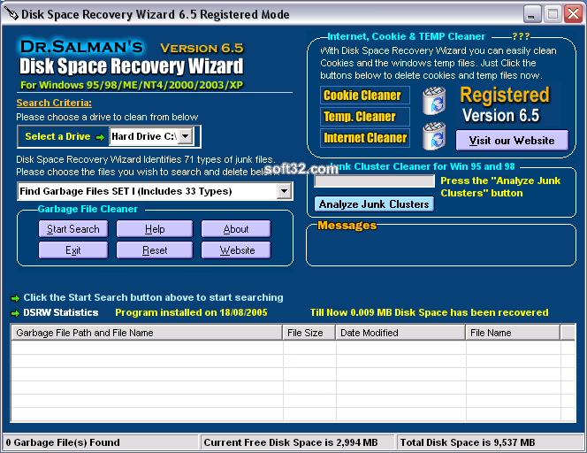 Disk Space Recovery Wizard Screenshot 2
