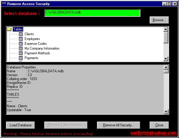 #Remove Access Security Screenshot 1