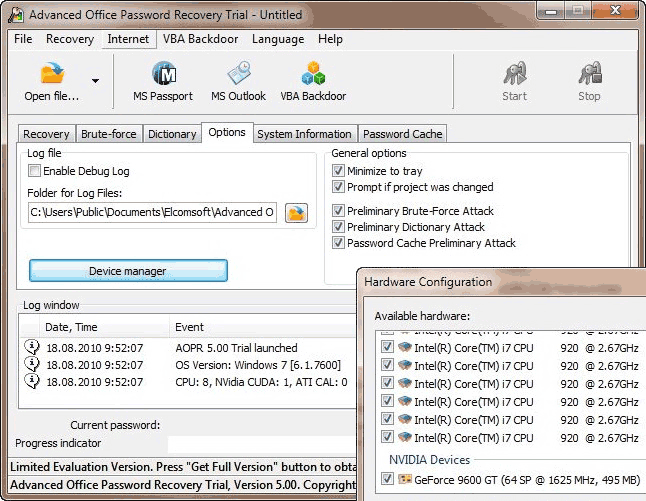 Advanced Excel 2000 Password Recovery Screenshot