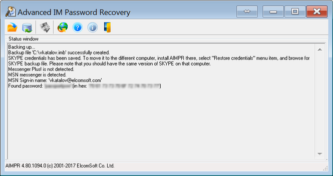 Advanced Instant Messengers Password Recovery Screenshot