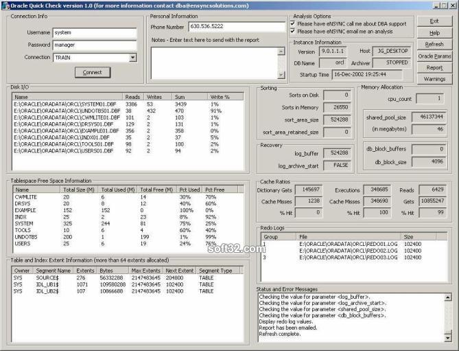 Oracle Quick Check Screenshot 2