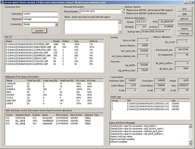 Oracle Quick Check Screenshot