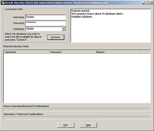 Oracle Security Check Screenshot
