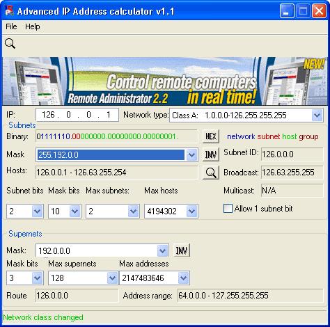 Advanced IP Address Calculator Screenshot