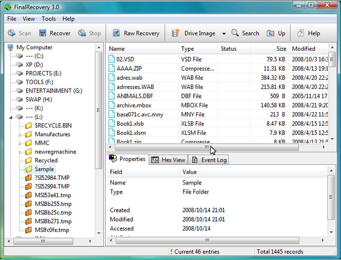FinalRecovery File Undelete Utility Screenshot