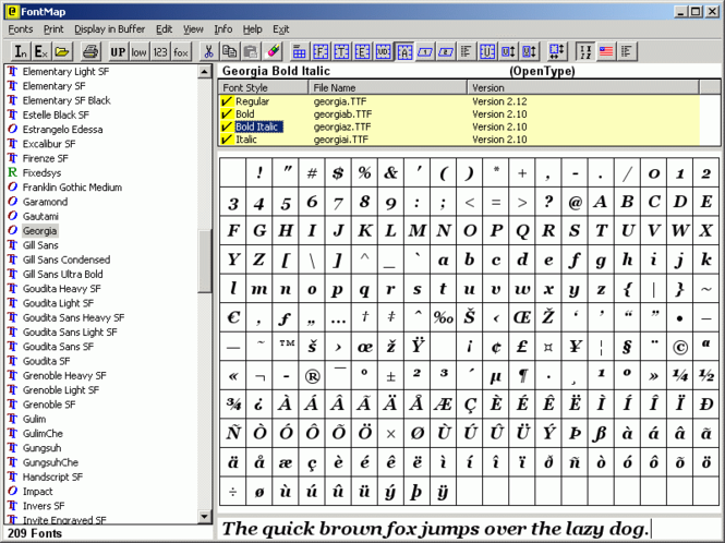 FontMap Screenshot