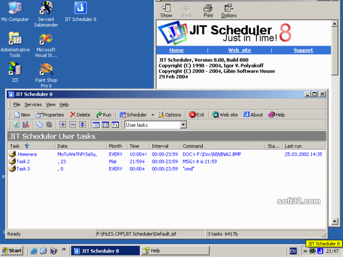 JIT Scheduler Screenshot