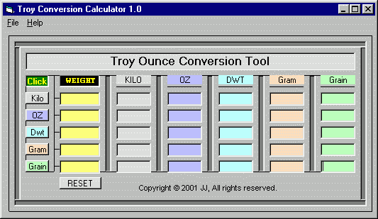 Troy Ounce Conversion Tool Screenshot 1