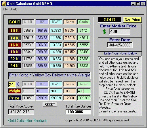 Gold Calculator Screenshot