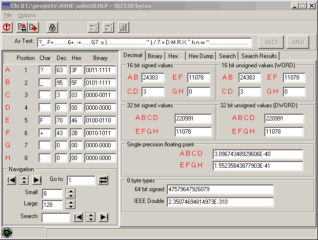 ASHE - A Scripted Hex Editor Screenshot
