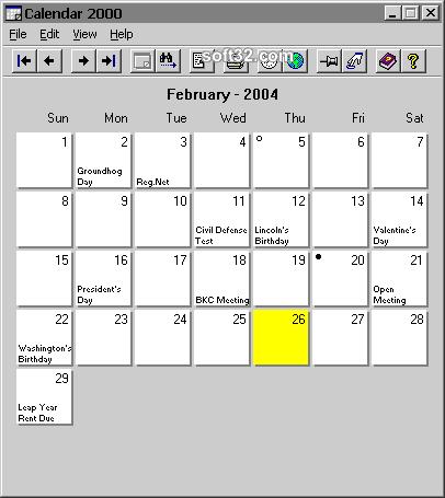 Calendar 2000 Screenshot 2
