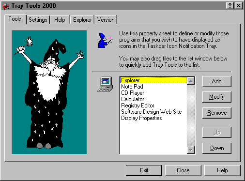 Tray Tools 2000 Screenshot