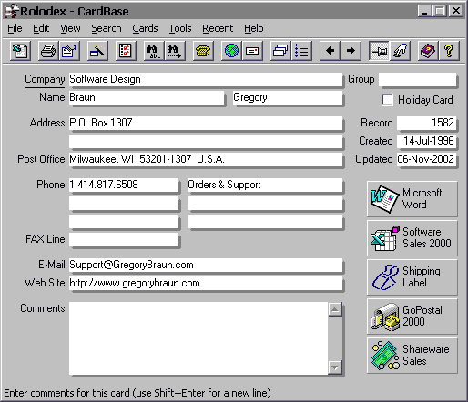 CardBase 2000 Screenshot 1