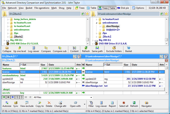 Advanced Directory Comparison and Synchronization Screenshot