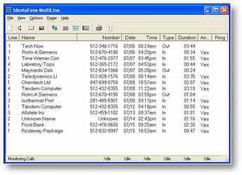 IdentaFone Multi-Line Caller ID Software Screenshot