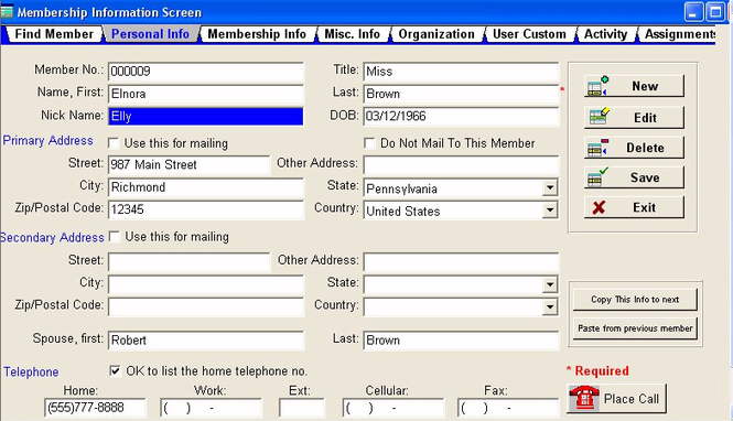 Membership Director Screenshot