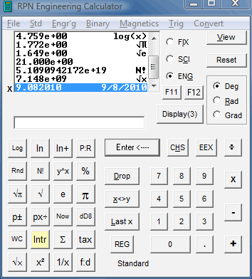 RPN Engineering Calculator Screenshot