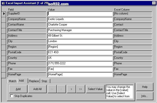 4TOPS Excel Import for MS Access 97 Screenshot 3