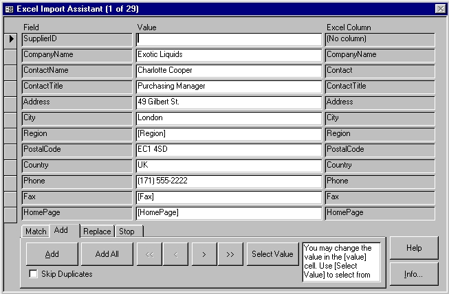 4TOPS Excel Import for MS Access 97 Screenshot