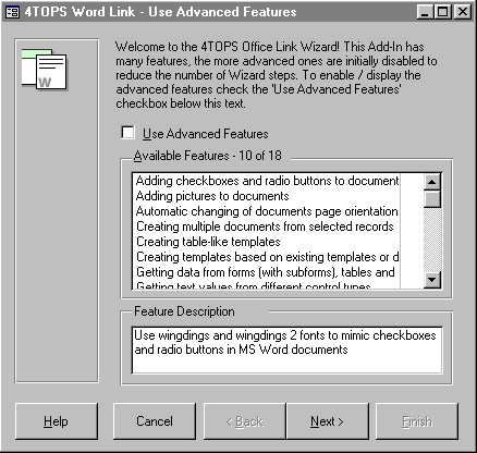 4TOPS Word Link for MS Access 2000 Screenshot
