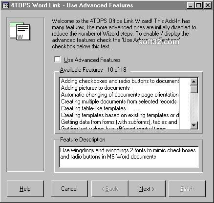4TOPS Word Link for MS Access 97 Screenshot 2