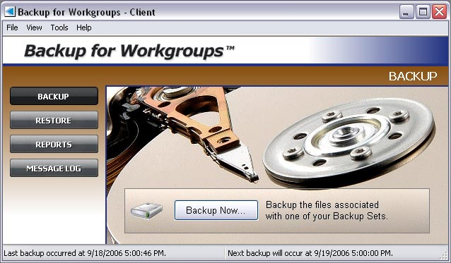 Backup for Workgroups Screenshot