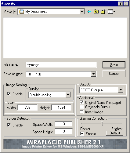 Miraplacid Printer Driver 2000/XP Screenshot