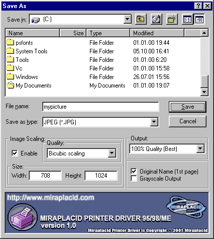 Miraplacid Printer Driver 95/98/ME Screenshot 2