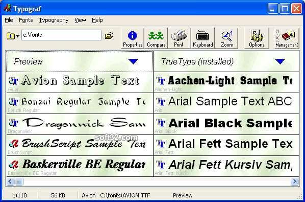 Typograf font manager Screenshot 2