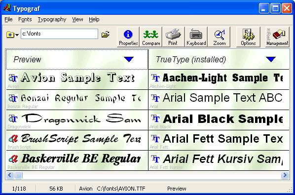 Typograf font manager Screenshot