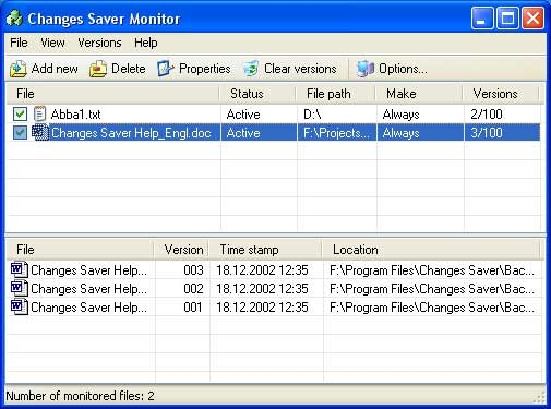 Changes Saver Screenshot