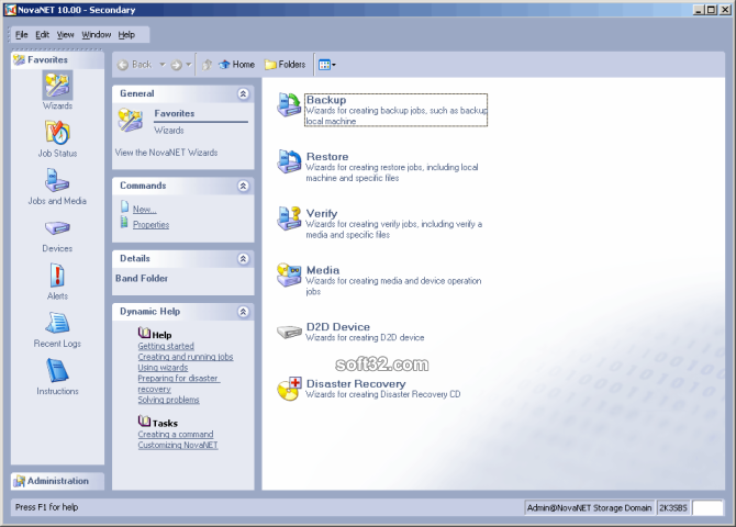 NovaNET Network Backup Screenshot
