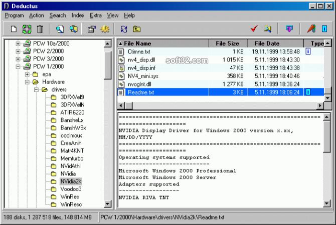 Deductus disk catalog Screenshot