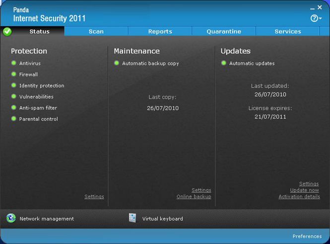 Panda Internet Security 2011 Screenshot 2