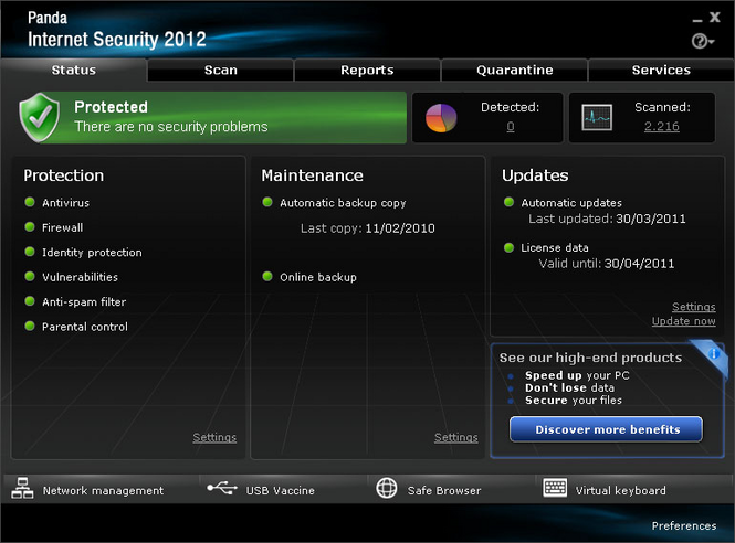 Panda Internet Security 2011 Screenshot 1