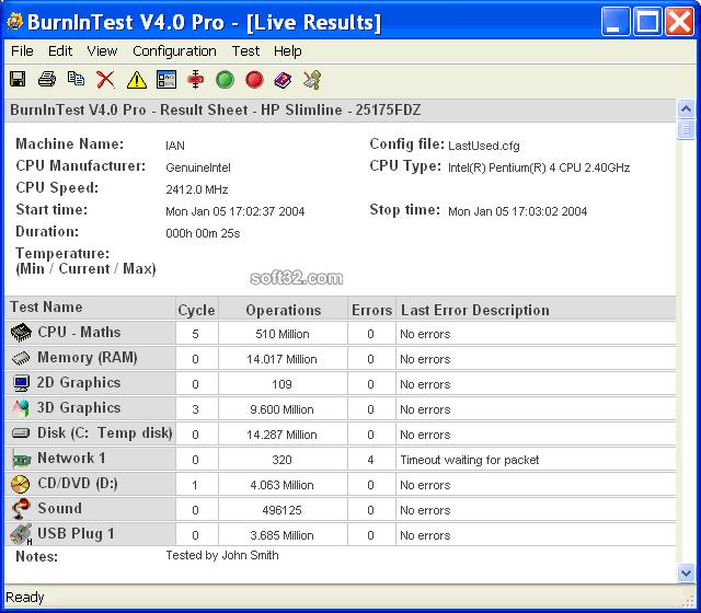 BurnInTest Standard Screenshot 3