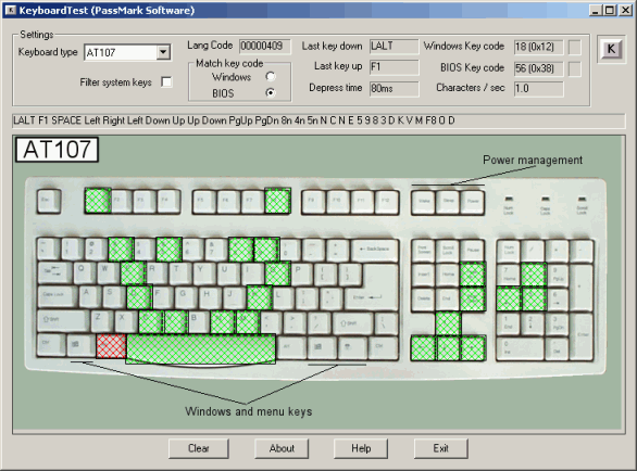 KeyboardTest Screenshot