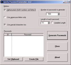 Quicky Password Generator Screenshot