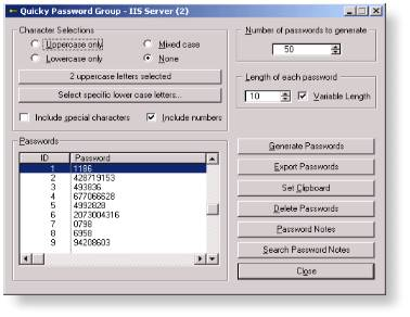 Quicky Password Generator - Shareware Screenshot