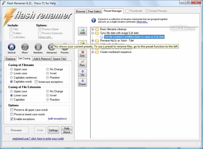 Flash Renamer Screenshot 2