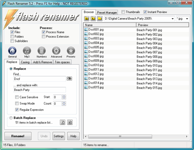 Flash Renamer Screenshot